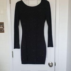 Black long sleeved bodycon dress